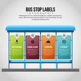 A parada do ônibus etiqueta Infographic Imagens de Stock