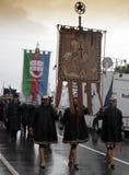 A parada e a bandeira da república de Genoa Foto de Stock