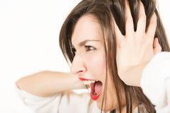 Parada! Eu não quero ouvir-se! Imagens de Stock