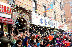 Parada lunar do ano 2014 novo no bairro chinês, New York Imagens de Stock Royalty Free