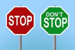 Parada - no pare las muestras Imágenes de archivo libres de regalías