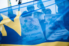 Parada Putin del ` de la acción de la protesta - pare el ` de la guerra en el cuadrado de la independencia en Kyiv Foto de archivo libre de regalías