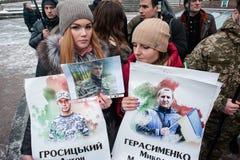 Parada Putin del ` de la acción de la protesta - pare el ` de la guerra en el cuadrado de la independencia en Kyiv Fotos de archivo libres de regalías