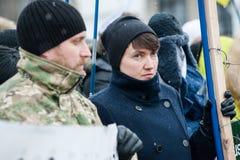 Parada Putin del ` de la acción de la protesta - pare el ` de la guerra en el cuadrado de la independencia en Kyiv Foto de archivo