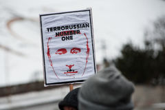 Parada Putin do ` da ação do protesto - pare o ` da guerra no quadrado da independência em Kyiv Fotos de Stock