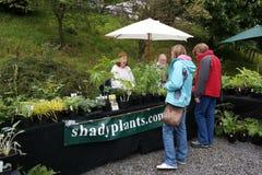 Parada que vende las plantas con los vendedores Imagen de archivo libre de regalías