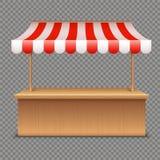 Parada vacía del mercado Tienda de madera con el toldo rayado rojo y blanco en fondo transparente ilustración del vector