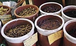 Parada verde oliva, mercado de Chania Fotografía de archivo libre de regalías