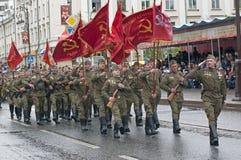 Parada w Tyumen na cze?? mo?e 9, 2018 mundur ?o?nierza obraz royalty free