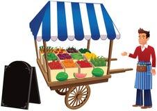 Parada y comerciante del mercado Ilustración del Vector