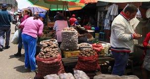 Paradas de las verduras de Bogotá en el mercado de Corabastos almacen de metraje de vídeo