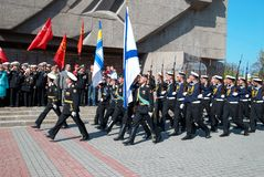 Parade 9. Mai 2009 des russischen Veterans Lizenzfreies Stockfoto