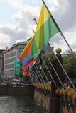 Parade of all flags of the 12 provences on the site of the Hofvijver in The Hague Den Haag in the Netherlands with green yellow. Parade of all flags of the 12 royalty free stock images