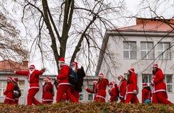 Parade assistants of Saint Nicholas in Uzhgorod royalty free stock images
