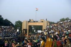 Parade, Attari, Punjab, India. Local people are celebrating on the border of India and Pakistan royalty free stock photo