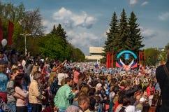 Parade auf Victory Day am 9. Mai 2016 Unsterbliches Regiment Mai, 9, 2016 in Ulyanovsk-Stadt, Russland stockfotografie