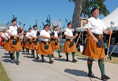Parade of Bagpipers Stock Photography