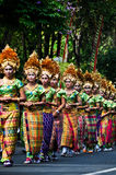 Parade of Balinese Girl with traditional dress Royalty Free Stock Photography