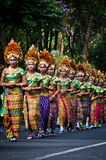 Parade of Balinese Girl with traditional dress Royalty Free Stock Images