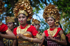 Parade of Balinese Girl with traditional dress Stock Photo