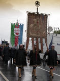 The parade and the banner of the Republic of Genoa Stock Photo