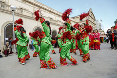 Parade in Barcelona of Chinese New Year. Royalty Free Stock Photo