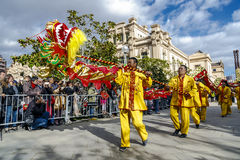 Parade in Barcelona of Chinese New Year. Stock Photos