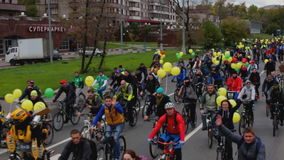 Parade of bicyclists,bike riders stock video footage