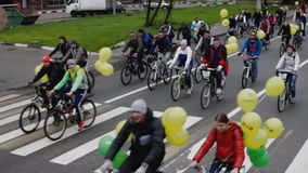 Parade of bicyclists,bike riders stock video