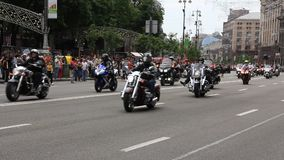 Parade of bikers stock footage