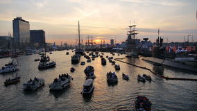 Parade of boats at Sail 2015 in Amsterdam stock video footage