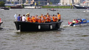 Parade of boats at Sail 2015 in Amsterdam w/sound stock video footage