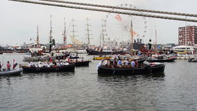 Parade of boats at Sail 2015 in Amsterdam w/sound stock video