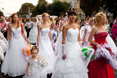 Parade of brides in the city of Vinnitsa Royalty Free Stock Photography
