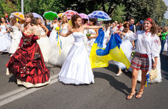 Parade of brides in the city of Vinnitsa Stock Images