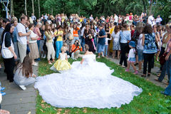 Parade of brides in the city of Vinnitsa stock image