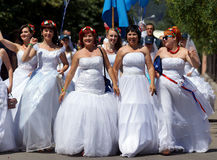 The parade of brides Royalty Free Stock Image