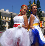The parade of brides royalty free stock photo