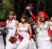 The parade of brides Stock Photography