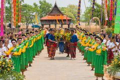 Parade of Buddha images together with Thai traditional dancing. Ubon Ratchathani, Thailand - May 2, 2016: People celebrating Songkran annual festival with parade Royalty Free Stock Photos