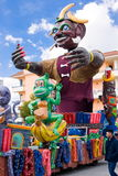 Parade of Carnival floats. During the Carnival of Saviano, Italy, March 9, 2014 royalty free stock photography