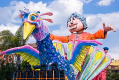 Parade of Carnival floats. During the Carnival of Saviano, Italy, March 9, 2014 stock photo