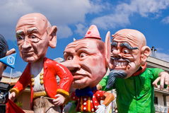 Parade of Carnival floats. During the Carnival of Saviano, Italy, March 9, 2014 royalty free stock images
