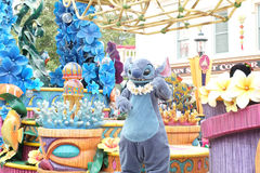 A parade of cartoon character Stitch. A famous cartoon of Walt Disney at Hong Kong Disneyland. HONG KONG, CHINA - January 30,2016: Hong Kong Disneyland on stock image