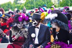 Mexico City, Mexico, ; November 1 2015: Parade of catrinas at the Day of the Dead celebrations in Mexico City stock photos