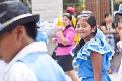 Parade celebrating the independence of Guatemala's. PANAJACHEL, GUATEMALA - SEPTEMBER 14, 2013: Students take part on a school parade celebrating the Stock Photo