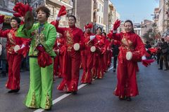 Parade of celebration of the Chinese New Year, year of the dog. Stock Photo