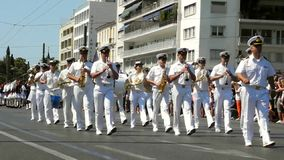 Parade changing of the guard in Athens. Athens, Greece - July 16, 2017: The orchestra accompanies the evzones at the ceremonial change of honor guard stock footage