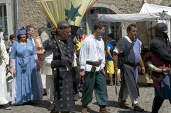 Parade of characters during the medieval festival Stock Photos