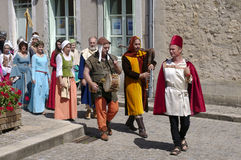 Parade of characters during the medieval festival Royalty Free Stock Images